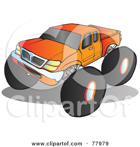 Royalty-Free (RF) Clipart Illustration of a Big Orange Monster Truck With Tinted Windows by Snowy