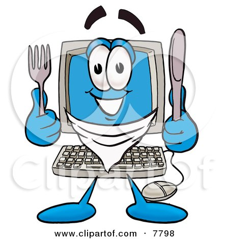 Desktop Computer Mascot Cartoon Character Holding a Knife and Fork Posters, Art Prints