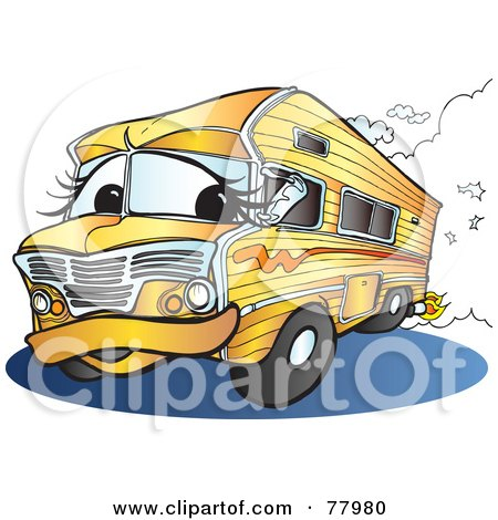 Royalty-Free (RF) Clipart Illustration of an Orange Recreational Vehicle Driving Down A Road by Snowy
