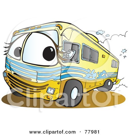 Royalty-Free (RF) Clipart Illustration of a Yellow Recreational Vehicle Driving Down A Road by Snowy