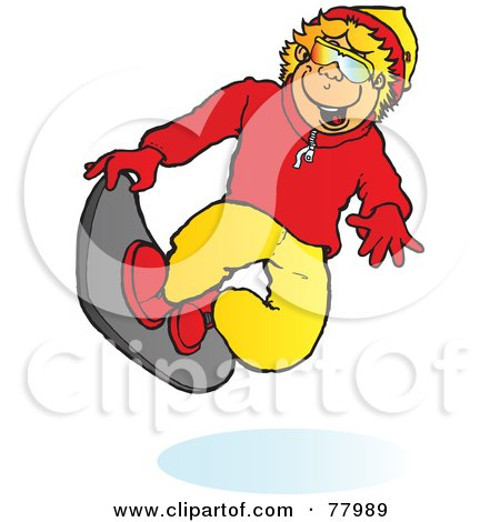 Royalty-Free (RF) Clipart Illustration of a Happy Blond Boy Snowboarding And Catching Air by Snowy
