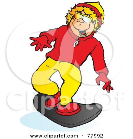 Royalty-Free (RF) Clipart Illustration of a Happy Blond Boy Snowboarding Slightly Right by Snowy
