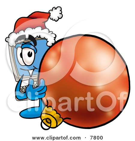 Desktop Computer Mascot Cartoon Character Wearing a Santa Hat, Standing With a Christmas Bauble Posters, Art Prints