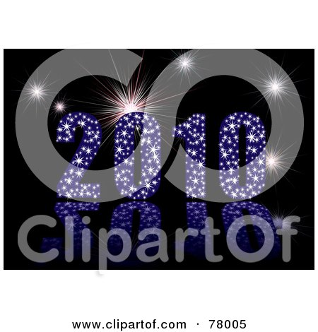 Royalty-Free (RF) Clipart Illustration of a 3d Blue Sparkly 2010 With Fireworks Over Black by michaeltravers