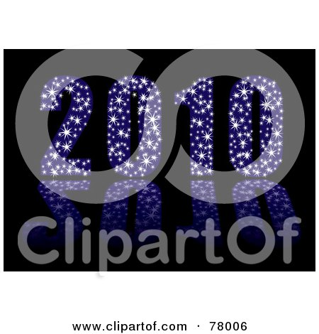Royalty-Free (RF) Clipart Illustration of a 3d Blue Sparkly 2010 With Stars On Black by michaeltravers
