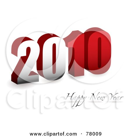 Royalty-Free (RF) Clipart Illustration of a Red 3d 2010 Happy New Year Greeting On White by michaeltravers