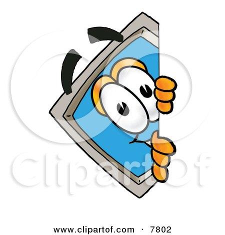 Desktop Computer Mascot Cartoon Character Peeking Around a Corner Posters, Art Prints