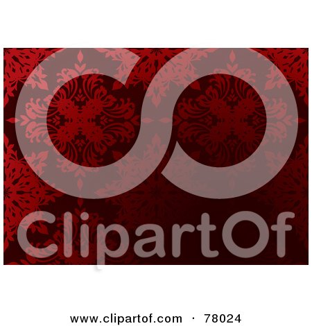 Royalty-Free (RF) Clipart Illustration of a Dark Red Gothic Floral Pattern Background by michaeltravers