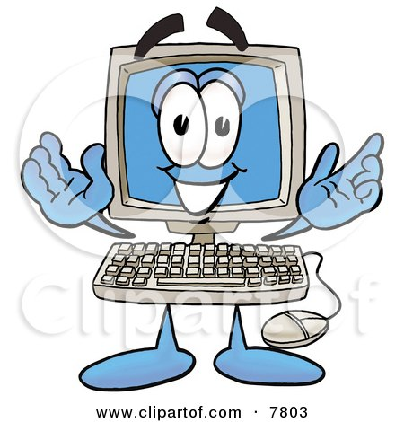 Desktop Computer Mascot Cartoon Character With Welcoming Open Arms Posters, Art Prints