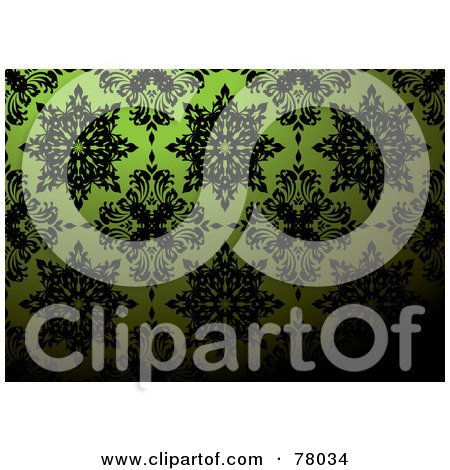 Royalty-Free (RF) Clipart Illustration of a Green And Black Floral Pattern Wallpaper Pattern Background With Dark Blending by michaeltravers