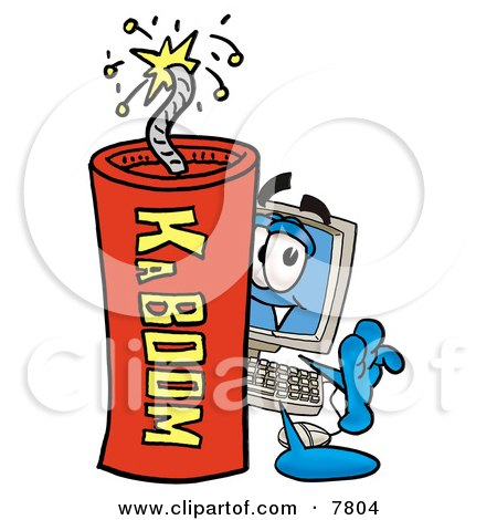 Desktop Computer Mascot Cartoon Character Standing With a Lit Stick of Dynamite Posters, Art Prints