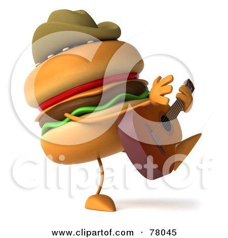 Royalty-Free (RF) Clipart Illustration of a 3d Cheeseburger Cowboy Character Playing A Guitar by Julos