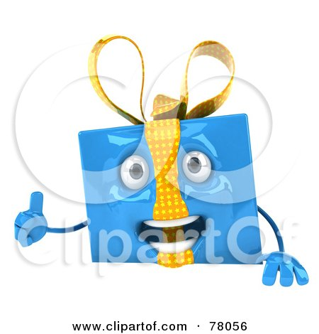 Royalty-Free (RF) Clipart Illustration of a 3d Blue Gift Character Presenting A Blank Sign Board - Version 1 by Julos