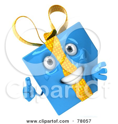 Royalty-Free (RF) Clipart Illustration of a 3d Blue Gift Character Presenting A Blank Sign Board - Version 2 by Julos