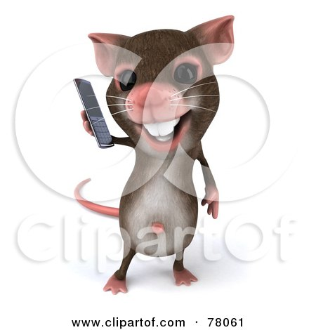Royalty-Free (RF) Clipart Illustration of a 3d Mouse Character Using A Modern Cell Phone - Version 1 by Julos