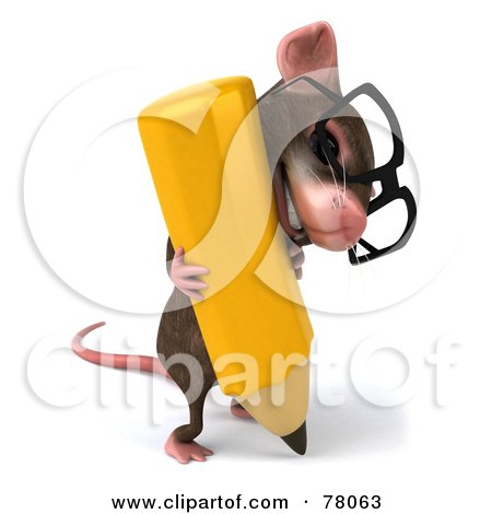 Royalty-Free (RF) Clipart Illustration of a 3d Mouse Character Wearing Glasses And Struggling With A Pencil by Julos