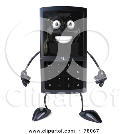 Royalty-Free (RF) Clipart Illustration of a Slim 3d Cellular Phone Character Facing Front by Julos