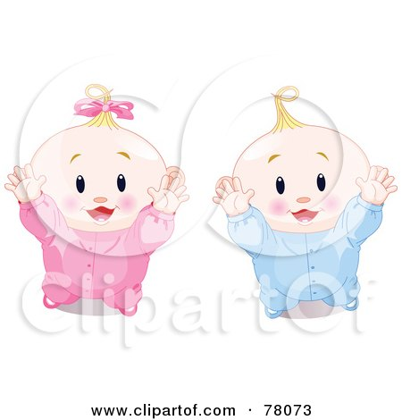 Royalty-Free (RF) Clipart Illustration of a Digital Collage Of A Baby Boy And Girl Standing And Reaching Upwards by Pushkin
