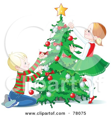 Royalty-Free (RF) Clipart Illustration of a Happy Brother And Sister Trimming A Christmas Tree With A Star And Baubles by Pushkin
