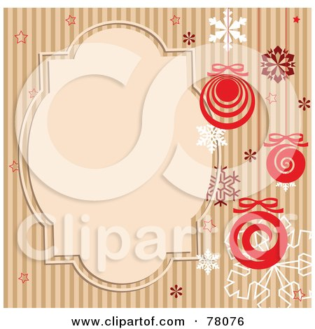 Royalty-Free (RF) Clipart Illustration of a Brown Striped Retro Background With Snowflakes, Baubles And A Text Box by Pushkin