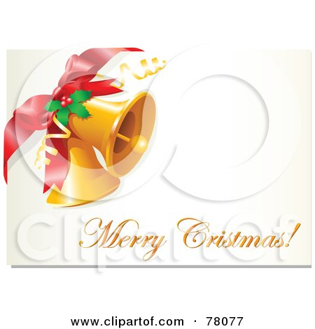 Royalty-Free (RF) Clipart Illustration of a Merry Christmas Greeting With Jingle Bells, Holly And A Bow by Pushkin