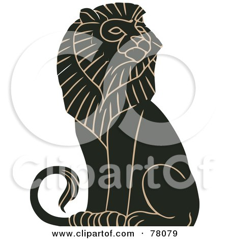 Royalty-Free (RF) Clipart Illustration of a Black And Tan Mature Majestic Male Lion Sitting by JVPD