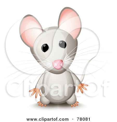 Royalty-Free (RF) Clipart Illustration of a Curious Standing Gray Mouse With Pink Ears by Oligo
