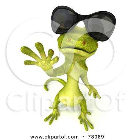 Royalty-Free (RF) Clipart Illustration of a 3d Gecko Character Waving And Wearing Shades by Julos