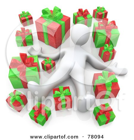 Royalty-Free (RF) Clipart Illustration of a 3d White Person Laying In A Crowd Of Red And Green Christmas Presents by 3poD
