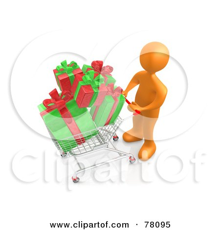 Royalty-Free (RF) Clipart Illustration of a 3d Orange Person Pushing A Shopping Cart Full Of Christmas Gifts by 3poD