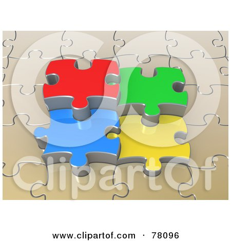 Royalty-Free (RF) Clipart Illustration of 3d Colorful Jigsaw Puzzle Pieces Popping Out Of A Beige Puzzle by 3poD