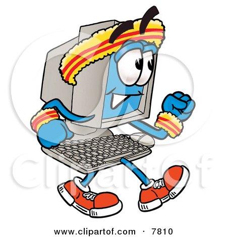 Desktop Computer Mascot Cartoon Character Speed Walking or Jogging Posters, Art Prints