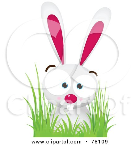 Royalty-Free (RF) Clipart Illustration of a Pink And White Bunny Rabbit In Grass by Qiun
