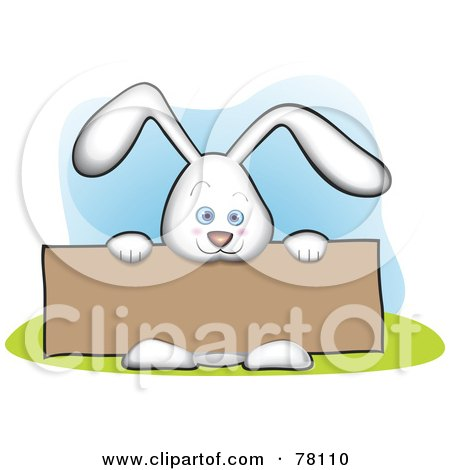 Royalty-Free (RF) Clipart Illustration of a Cute White Bunny Holding A Blank Brown Sign Board by Qiun