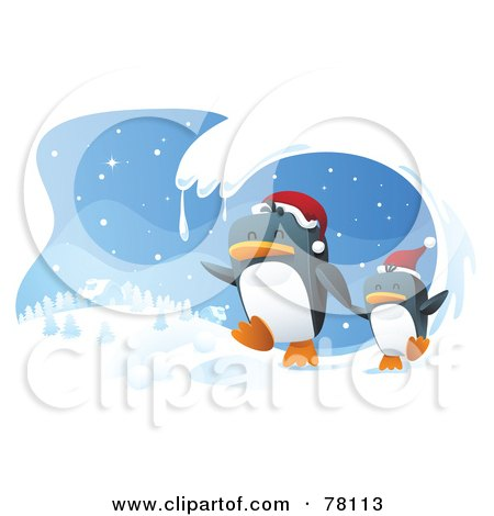 Royalty-Free (RF) Clipart Illustration of a Wave Of Snow Framing A Scene Of Two Penguins Wearing Santa Hats And Running In The Wniter by Qiun