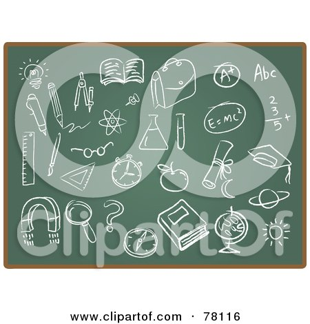Royalty-Free (RF) Clipart Illustration of a Digital Collage Of Chalk Board School Drawings by Qiun