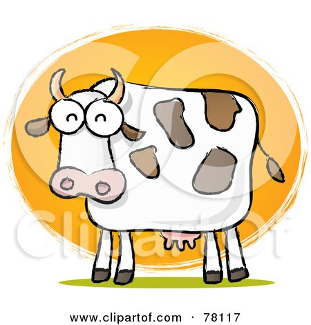 Royalty-Free (RF) Clipart Illustration of a Chubby Dairy Cow Sketch In Front Of The Sun by Qiun