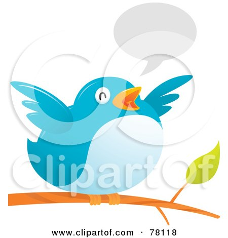 Royalty-Free (RF) Clipart Illustration of a Fat Bird Flapping Its Wings While Perched On A Branch, With A Text Balloon by Qiun