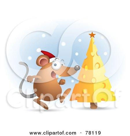 Royalty-Free (RF) Clipart Illustration of a Excited Mouse Wearing An Excited Mouse Wearing A Santa Hat And Running Towards His Cheese Christmas Tree by Qiun