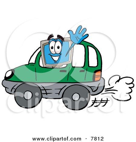 Desktop Computer Mascot Cartoon Character Driving a Green Car and Waving Posters, Art Prints