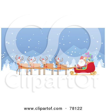 Royalty-Free (RF) Clipart Illustration of a Team Of Four Reindeer Wearing Hats And Pulling Kris Kringle's Sleigh Through The Snow by Qiun