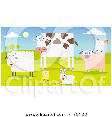 Royalty-Free (RF) Clipart Illustration of a Group Of Farm Animals In A Pasture; Sheep, Cow, Chicken, Rabbit, Pig And Rooster by Qiun