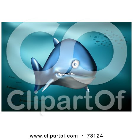 Royalty-Free (RF) Clipart Illustration of a Confused Blue Shark Swimming In The Deep Sea With Fish Schools In The Background by Qiun