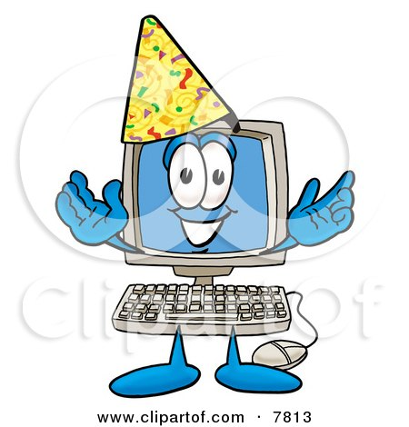 Desktop Computer Mascot Cartoon Character Wearing a Birthday Party Hat Posters, Art Prints