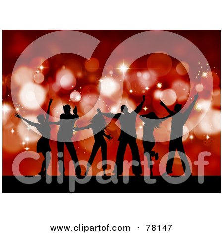 Royalty-Free (RF) Clipart Illustration of a Group Of Silhouetted Christmas Party Dancer People Against Red Sparkles by KJ Pargeter