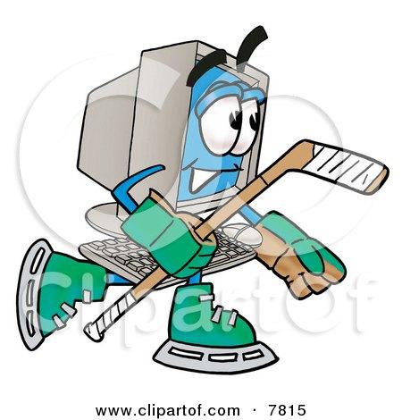 Desktop Computer Mascot Cartoon Character Playing Ice Hockey Posters, Art Prints