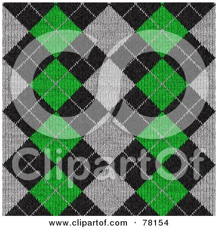 Royalty-Free (RF) Clipart Illustration of a Seamless Green, Gray And Black Diamond Argyle Knit Pattern Background by Arena Creative