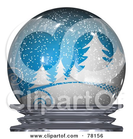 Royalty-Free (RF) Clipart Illustration of a Blue Snowy Winter Scene In A Snow Globe by Arena Creative