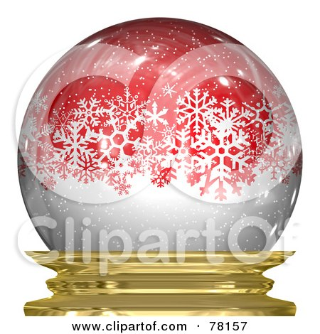 Royalty-Free (RF) Clipart Illustration of White Snowy Winter Snowflakes In A Red Snow Globe by Arena Creative