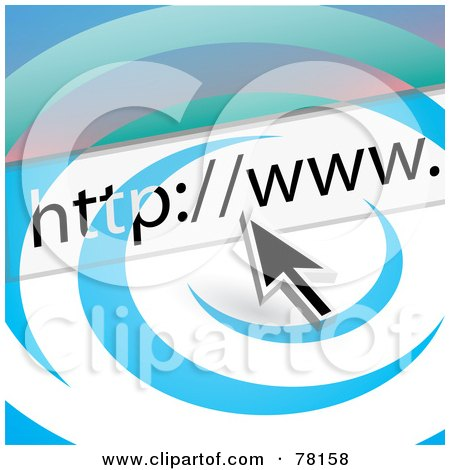 Royalty-Free (RF) Clipart Illustration of a Computer Cursor With A URL Bar Over A Swoosh by Arena Creative